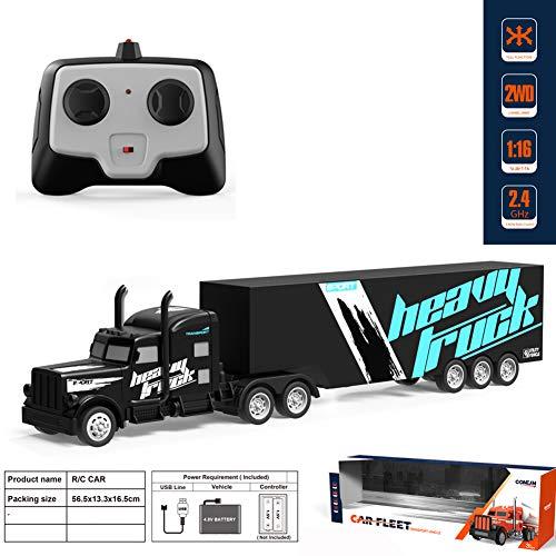 Camión teledirigido, escala 1:32, gran camión, juguete teledirigido, 2,4 G, mando a distancia de alta velocidad para todos los adultos y niños, Schwarzer Lkw, Tamaño libre