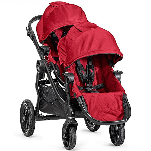 Baby Jogger City Select Black Frame Stroller w 2nd Seat Red