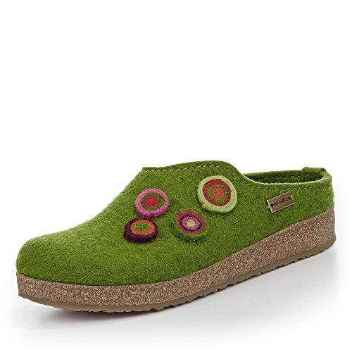 HAFLINGER Unisex-Erwachsene Grizzly Kanon Pantoffeln, Grün (Grasgrün 36), 41 EU