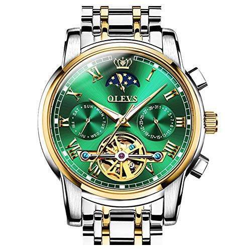 OLEVS Mens Watch Automatic Mechanical Skeleton Winding Moon Phase Green...