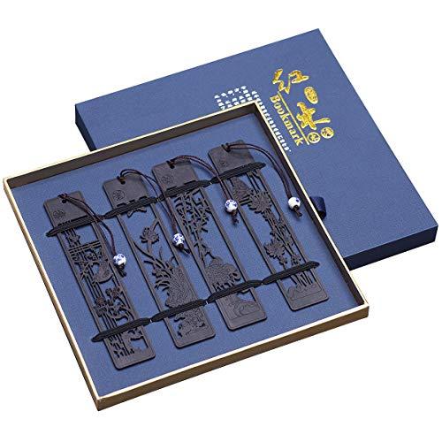 Handgemachtes natürliches hölzernes Schnitz-Lesezeichen-Geschenkbox-Set, Lesezeichen mit blauem und weißem Porzellananhänger, ist ein einzigartiges Geschenk für Lehrer, Schüler, Männer und Frauen.