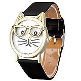 Juliyues Uhren Frauen,Damen Nette Gläser Katze Analog Quarz Armbanuhr mit Lederarmband Uhren Geschäftsuhr Armbanduhren