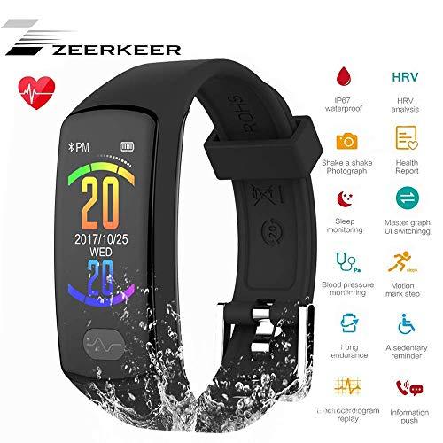 Zeerkeer Smart-Armband mit Blutdruck EKG + PPG, Herzfrequenz und Schrittzähler für Herren Damen Kinder Schwarz