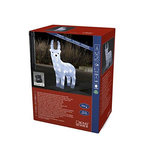 """Konstsmide 6139-203 LED Acrylfigur \""""Rentier\"""" / für Außen (IP44) / Batteriebetrieben: 4xAA 1.5V (exkl.) / 6h Timer / 32 kalt weiße Dioden / transparentes Kabel"""
