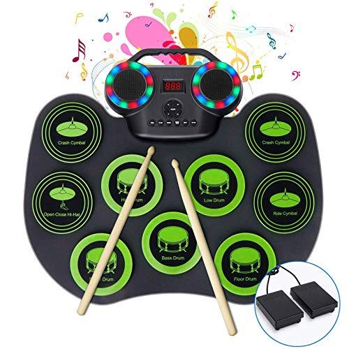 Batería electrónica de 9 pads con altavoces estéreo dobles y luces de colores, batería MIDI enrollable con Bluetooth portátil para niños principiantes, 10 horas de reproducción (Color : Green A)