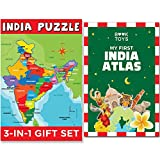 Book Toys Set of Jigsaw India Map Puzzle with State Capitals, India Atlas