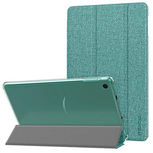 MoKo Case Fits All-New Amazon Kindle Fire 7 Tablet (9th Generation, 2019 Release), PU Leather Trifold Stand Cover Frosted Clear Backshell with Auto Wake/Sleep - Denim Green