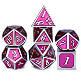 Solid D&D Metal Dice Set, Rose Pink and Silver Frame Metal Dice with Metal Box for Role Playing Game Dungeons and Dragons RPG and Pathfinder