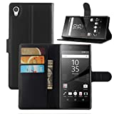 Fettion Sony Xperia Z5 Case, Premium Leather Wallet Case Cover with Stand Card Holder for Sony Xperia Z5 Phone (Wallet - Black)