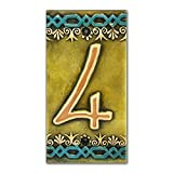 Ceramic Tile House Address Numbers, 4.9inch X 2.55inch, Hand Decorated, House Number Signs