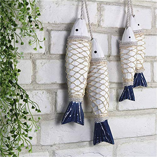 Rovge Antique Vintage Wooden Fish Decor Hanging Wood Fish with Fishing Net Hand Carved Nautical Ornaments Home Wall Decor Hanger Gift - Large