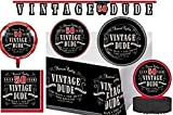 Vintage Dude 50th Birthday Theme Party Supplies Decorations Tableware Plates, Napkins, Table Cover, Centerpiece, Metallic Balloon, and Jointed Banner