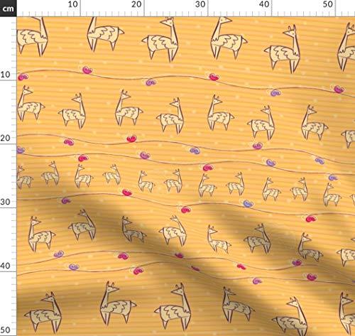 Garndesign Wettbewerb, Herzen, Lama, Niedliches Tier, Garn, Gelb, Alpaka Stoffe - Individuell Bedruckt von Spoonflower - Design von Hollybender Gedruckt auf Bio Baumwollsatin