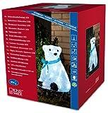 Konstsmide 6123-203 LED Acryl Eisbär sitzend mit blauer Schleife und 40 kalt weißen Dioden, 24V Außentrafo
