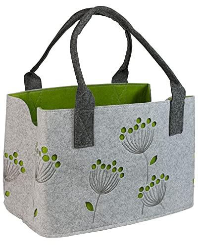 GILDE Filztasche Dillblüte, 41 cm, Einkaufstasche/Holztasche/Strandtasche - reißfest & trägt viel Gewicht - polstert Ihre Einkäufe sicher ab und besitzt viel Stauraum (Hellgrau)