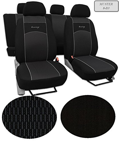 Sitzbezüge passend für Golf VI . Schonbezüge ,Super Qualität, DESIGN VIP Universal. In diesem Angebot MUSTER 8-B3 (In 9Farben bei anderen Angeboten erhältlich) . Komplett besteht aus: Sitzbezügen + 5 Kopfstützen + Montagehäckchen.