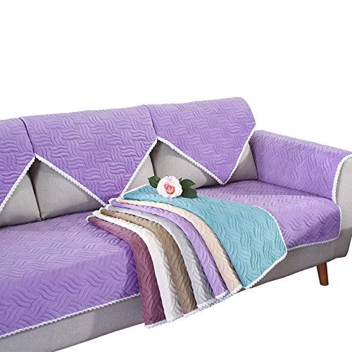 YUTJK Cojín de Sofá Universal de Cuatro Estaciones,Cojín de Protección de Sofá,Funda de Asiento de Tela,Estera Tejida del sofá de la Felpa del Modelo,para Primavera,Púrpura