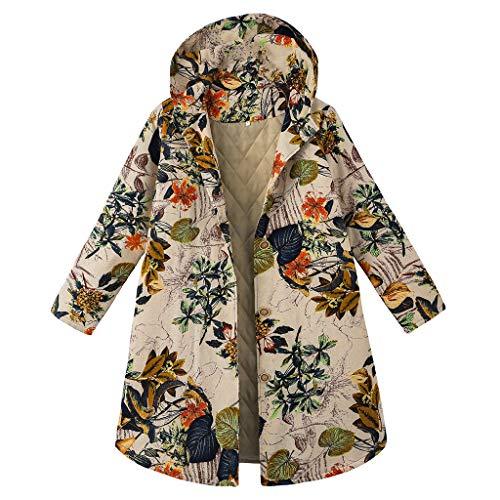 ZuzongYr Abrigo de mujer vintage, cárdigan étnico, estampado de flores, con capucha, de manga larga, acolchado, talla grande, con botón largo Blanco XXXXL