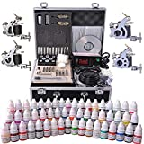 AW Complete Tattoo Kit 54 Color Ink 4 Machine Guns Set Foot Switch LCD Power Supply Equipment