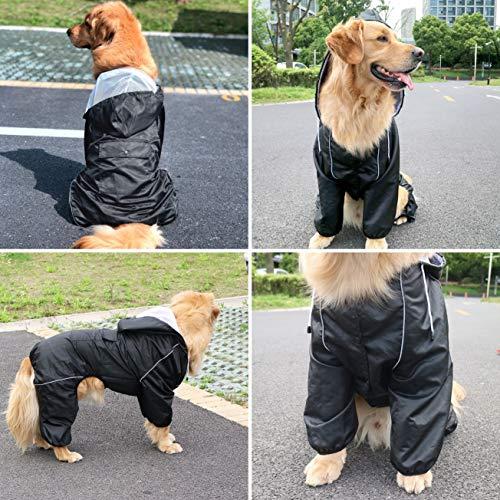 Idepet Impermeabile per cani con cappuccio e foro per collo, poncho impermeabile per pioggia per cani Giacca per pioggia riflettente per cani Felpe con cappuccio antivento