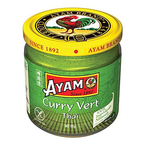 AYAM Pâte de Curry Vert   100% Ingrédients Naturels   Saveurs Authentiques   Facile à cuisiner   Curry Thaï   Alimentation Saine   Sans Gluten   Sans Lactose   Sans Conservateurs -...