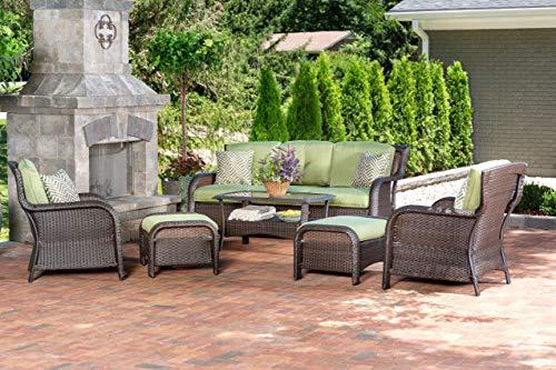 Hanover STRATH6PC-S-GRN Strathmere Lounge Set (6 Piece), Green Outdoor Furniture