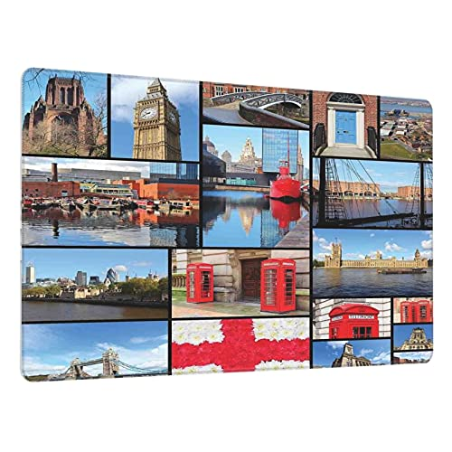 Alfombrilla de ratón para Juegos 30X80CM,Ciudad de Inglaterra Cabina de teléfono roja Reloj Tower Bridge Río Bandera,Base de Goma Antideslizante,Adecuada para Jugadores,PC y portátiles