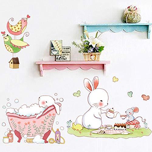 Runinstickers muurstickers, schattige cartoon-muis, konijnen, dier, afneembaar, doe-het-zelf etiket voor kinderkamer, slaapkamer, wandsticker, tuindecoratie