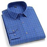 Camisa Hombre Manga Larga,Camisa A Cuadros De Algodón Camisas Casuales De Manga Larga A Cuadros Azules Clásicas con Bolsillo Botones Padre Novio, XXL