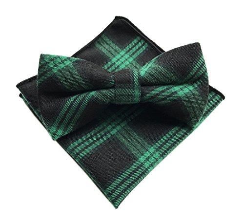 Elfeves Men's Green Black Bow Ties with Hanky Party Tuxedo Penguin Suit NeckWear