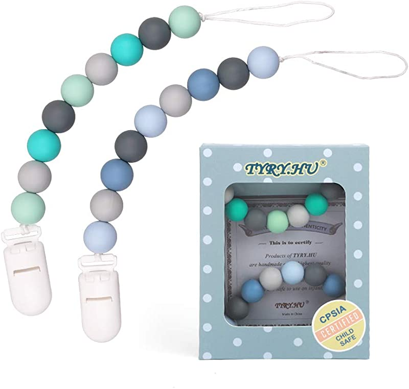 Pacifier Clip TYRY HU Silicone Teething Beads Binky Teether Holder For Girls Baby Shower Gift 2 Pack Green Blue