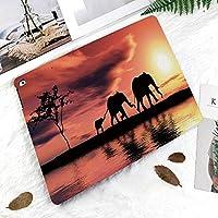 IPadケース スマートカバー アイパッドケース タブレットカバー アイパッド第四世代 第三世代 川によって象シルエットアフリカ動物野生動物の冒険風景装飾