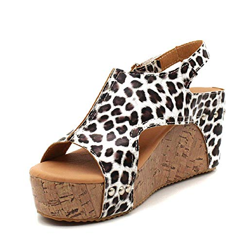 Sandalias de mujer Sandalias de plataforma Cuñas Zapatos para mujer Tacones de verano Zapatos de cuero Cuña Tacones Sandalias