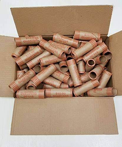 160 PCS Rolls Preformed Coin Wrappers Paper Tubes for Quarters (Holds $10 Each) New