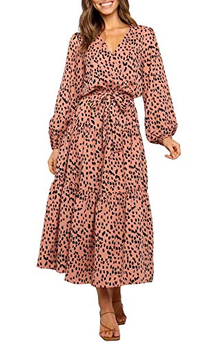 MITILLY Women's Boho Leopard Print Ruffle Long Sleeve V Neck Casual Flowy Party Maxi Dress Khaki Medium