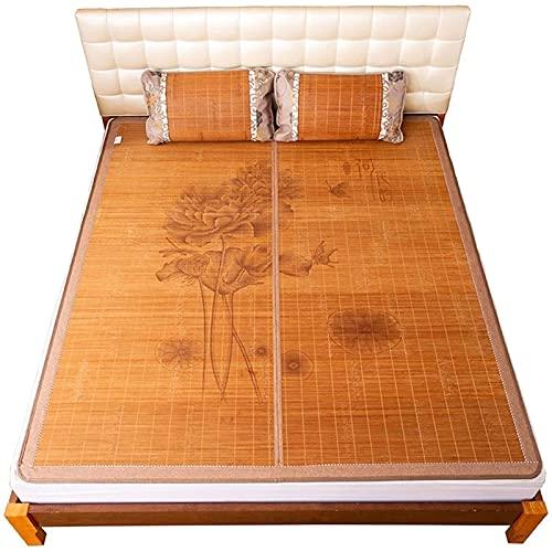 NNLX Colchón de bambú Topper, Ropa de Cama de 3 Piezas Alfombra de Paja de Verano alfombras para Dormir para Camas de Cama Plegable de Doble Cara,C,0.8 * 1.9M(34 * 74in)