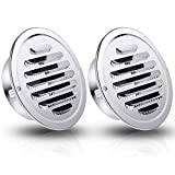 Hohean 2 Pieces Stainless Steel Air Outlet Vents 4 Inch Round Louver Grille Cover Wall Air Soffit Vents Flat Ducting Air Ventilation Outlet Hood with Screen Mesh for Wall Ceiling