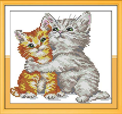 Punto Croce Kit per Adulti Principianti Bambini-Cotone Floss ricamare Ricamo-Fai da Te Cross Stitch Embroidery Arte Natale-11CT Tela prestampata-Amarsi