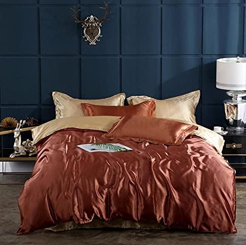 Bedding-LZ Set de Fundas Reversibles para edredón,Ropa de Cama de Color de Cuatro Piezas de Seda de Color sólido de Verano-A_1,5 m la Cama (4 Piezas)