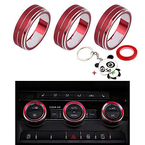 BLINGOOSE Dekorative Abdeckung für Innenraum, Aufkleber aus Metall, Stahl, Logo Emblem Caps, Klimaanlage für Skoda Octavia Super Kodiaq GT Comic Red (Rot, Condition)