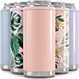 Maars Skinny Can Cooler for Slim Beer & Hard Seltzer | Stainless Steel 12oz Koozy Sleeve, Double Wall Vacuum Insulated Drink Holder - Glitter Blush