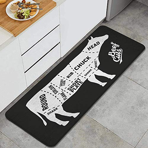 DAHALLAR Anti-Fatigue Kitchen Floor Mat,Agriculture Meat Cuts Vintage Sirloin Shank Butcher Brisket Flank Food Design Barbecue Plate,Non-Slip Cushioned Door Bedroom Bath Carpet Rug Pad,47.2 x 17.7in
