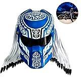 El casco más completo de Iron Warrior, casco de motocicleta de fibra de carbono Predator, casco de motocross y locomotora con casco de lente roja antiniebla Certificación de seguridad DOT Azul,XXL