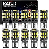 KATUR T10 W5W LED Bombilla 194 168 Superbrillante 6000K Xenón Blanco 30*3014 Chip 12-24V CANBUS Sin errores Luz de matrícula de cortesía de la puerta del mapa del domo del automóvil (Versión Mejorada)