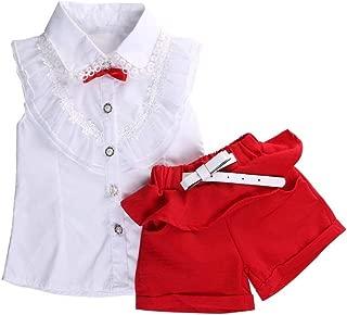 V-A-O-L Conjunto de Ropa de Verano para niñas, Pantalones Cortos y Camisa de Encaje sin Mangas, 2 Unidades