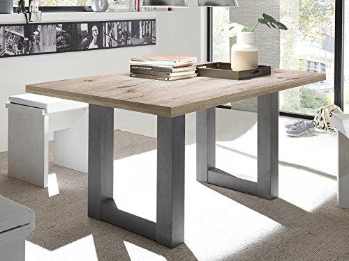 möbelando Esszimmertisch Küchentisch Tisch Esstisch Holztisch Speisentisch Trey V Graphit/Sandeiche
