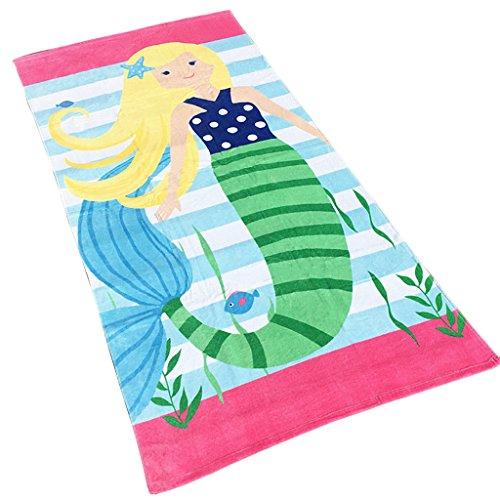 Garçons Filles Enfants Serviette de Plage - Serviette de Bain pour Enfants 100% Coton Serviette de Sport Couverture de Dessin Animé Natation Surf Randonnée Voyage