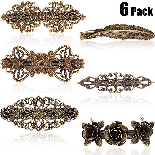 6 Stücke Vintage Haar Nadel Satz Metall Messing Farbe Französisch Haar Spangen Retro Blume Haar Spangen für Frauen Mädchen