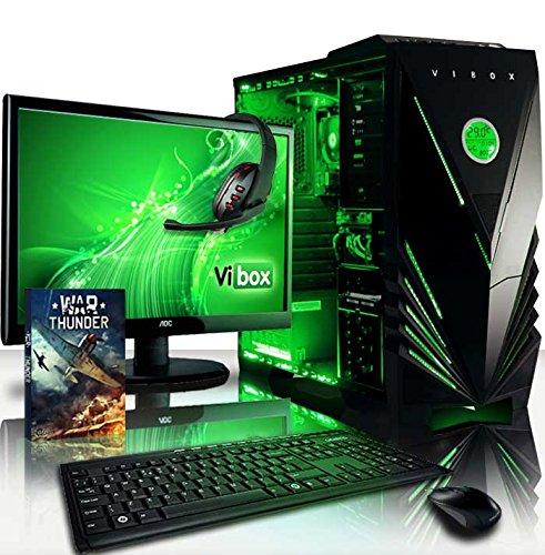 VIBOX Vision Paket 2LW - 3.9GHz Dual Core, Büro, Familie, Gamer, Gaming PC, Multimedia, Desktop PC, Computer mit WarThunder Spiel Bundle, Windows 10 Betriebssystem, 22