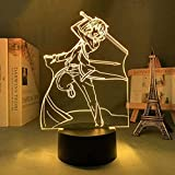 Anime Sword Art Online Kirito Badass ilusión 3D luz nocturna luz de humor para niños control remoto de 7 colores y luz de regalo de vacaciones con botón táctil